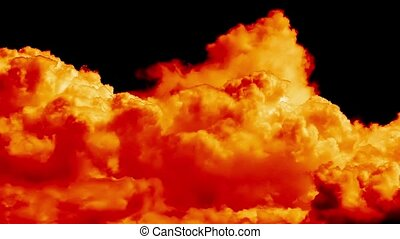 Blasen, wolkenhimmel, brennender, feuer, FEHLER, cinematic,...