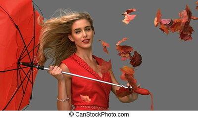 blask, kobieta dzierżawa, niejaki, złamany, parasol