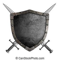 blason, moyen-âge, chevalier, bouclier, et, traversé, épées,...