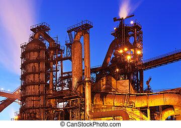 Blast furnace equipment - Night view of blast furnace...