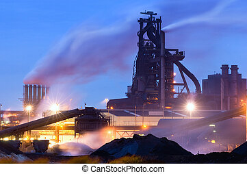 Blast Furnace - Heavy industry at night with a blast furnace...