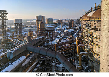 Blast furnace shop of the metallurgical plant. Winter industrial landscape.