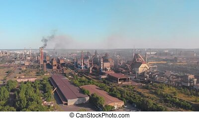 Blast furnace smoke manufacturing aerial drone right side camera movement Krivoy Rog Ukraine