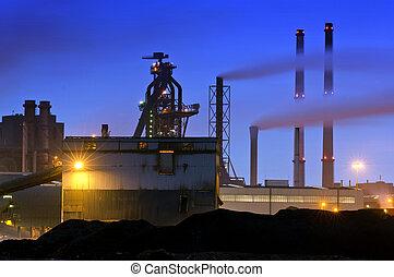 Blast Furnace - The menacing outline of a blast furnace,...