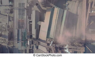 Blast furnace view from the air. Old factory. Aerial view...