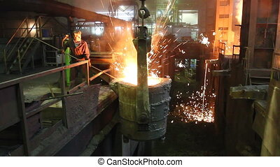 Blast furnace workshop of metallurgical plant, foundry -...