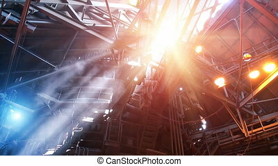 Blast furnace workshop - Smoke and sun light rays in blast...