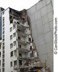 Blast - House debris following blast bombing and demolition