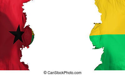 Blasted Guinea Bissau flag, against white background, 3d ...