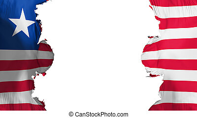 Blasted Liberia flag, against white background, 3d rendering