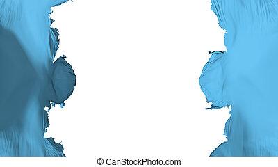 Blasted Saint Lucia flag, against white background, 3d ...