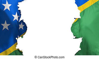 Blasted Solomon Islands flag, against white background, 3d ...