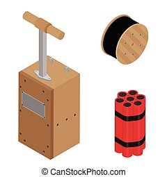 Blasting Machine or detonator box, dynamite sticks and black wire electric cable reel isolated on white background isometric view vector set.