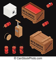 Blasting Machine or detonator box, safe, dynamite sticks and black wire electric cable reel isolated on white background isometric view vector set. Caution explosive.