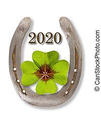 blatt, 2020, pferd schuh, glücklich, jahr, kleeblat, neu