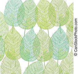 Blatt an Blatt.eps - Green plant leaves pattern illustration