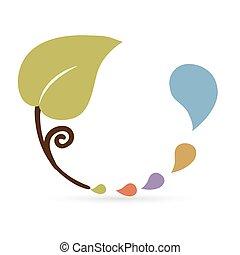 blatt, bunte, abstrakt, tropfen, wasser, ikone, symbol