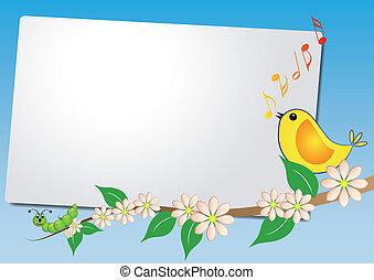 blatt, mit, vogel, lied