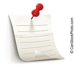 blatt papier, für, notizen, festgesteckt, per, stift