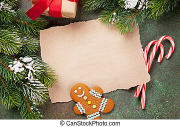 blatt papier, für, weihnachten, wünsche