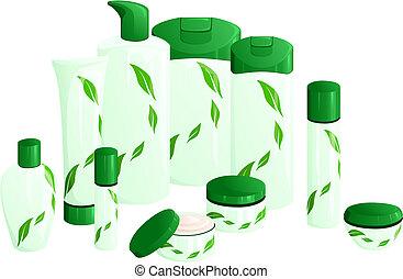 blatt, schönheit produkte, design, grün, linie
