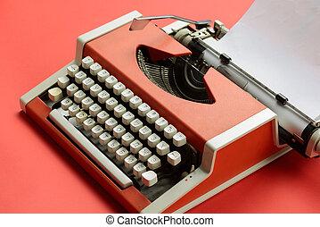 blatt, weinlese, papier, leer, weiß rot, schreibmaschine