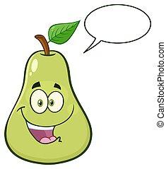 blatt, zeichen, birne, fruechte, grün, glücklich, karikatur, maskottchen