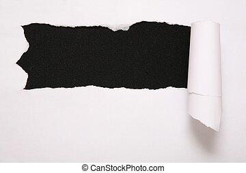 blatt, zerrissene , gegen, papier, schwarzer hintergrund, 2