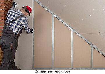 blatt, zimmer, wand, installieren, dachgeschoss, baugewerbe, gipskarton, mann