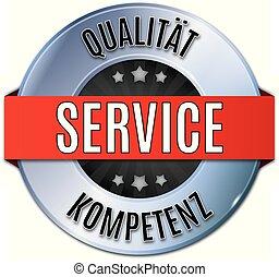 blau glnzendes rundes siegel  qualitt service kompetenz