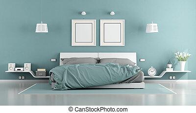 blau weiß, meister, schalfzimmer