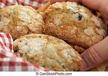 blaubeere, muffins, in, korb
