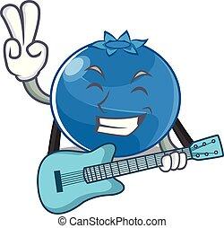 blaubeere, stil, karikatur, gitarre, zeichen