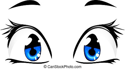 blaue augen, karikatur, freigestellt