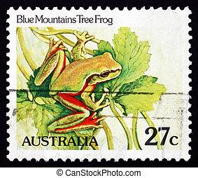 blaue berge, australia, 1981, briefmarke, -, baum, litoria,...