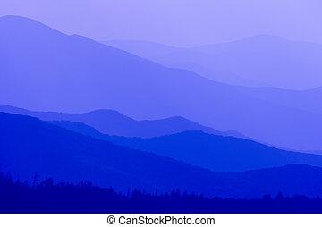 blaue berge, groß, rauchig, töne