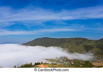 blaue berge, himmelsgewölbe, rauchig, park, landschaftsbild