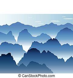 blaue berge, nebel, morgen