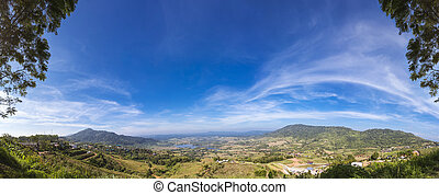 blaue berge, park, himmelsgewölbe, panorama, landschaftsbild