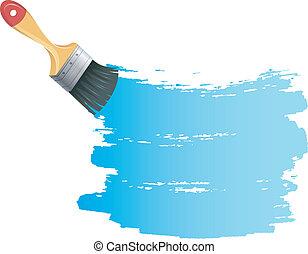 blaue farbe, spritzen, bürste