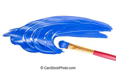 blaue farbe, weißes, papier, zeichnung