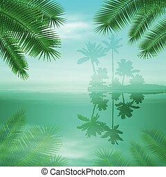 blaue insel, tropische , hintergrund., handfläche, meer, bäume.