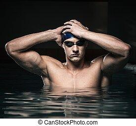 blaue kappe, junger, muskulös, mann, teich, schwimmender