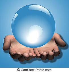 blaue kugel, abbildung, kristall, hände, glänzend, 3d