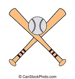 blaue kugel, baseball, symbol, linien, gekreuzt, fledermäuse