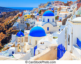 blaue kuppel, kirchen, oia, santorini