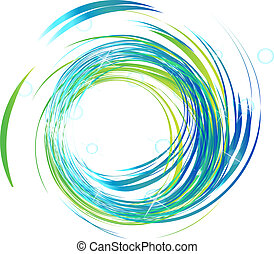 blaue lichter, hell, logo, wellen