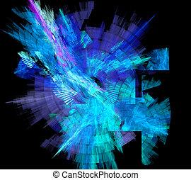 blaue spirale, abbildung, hintergrund, kreis, fractal,...