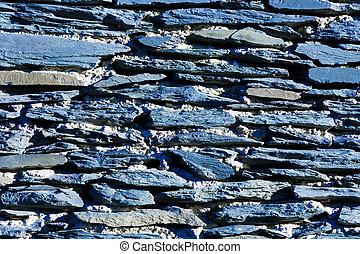 blaue wand, beschaffenheit, steinen