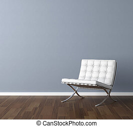 blaue wand, mit, weißes, stuhl, innenarchitektur